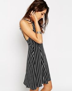 ASOS COLLECTION ASOS 90's Sundress With High Neck In Stripe - Shop for women's Dress - print