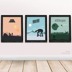 Star Wars Trilogy Minimalist Movie Posters Set Of 3, Star Wars Trilogy Art  Print,