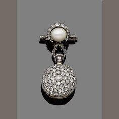 Bonhams 1793 : A diamond and pearl fob watch/brooch,