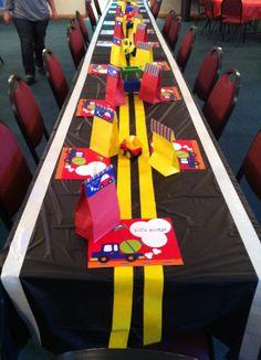 Transportation birthday party... love the road table cloth idea!
