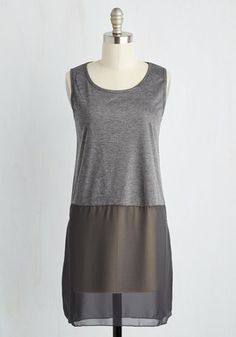 Gossamer Glam Tunic in Charcoal - Grey, Solid, Casual, Boho, Sleeveless, Sheer, Knit, Better, Scoop, Long, Minimal, Variation