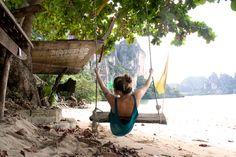 wood & rope swing