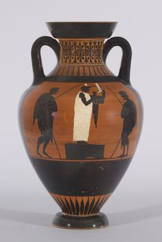 "#Black-figure Pseudo-#Panathenaic #Amphora The image on the obverse of this amphora may represent the ""mousikoi agones,"" or musical competitions, of the Panathenaic festival (Bundrick 2005, 160-74)."