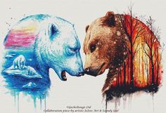 Bear Cross Stitch Kit, JoJoes Art and Scandy Girl, 'We're In This Together' Counted Cross Stitch Kit, Ice Caps, Woodland Fire, Enviroment