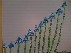 * Blauwe druifjes stempelen met wattenstaafjes!