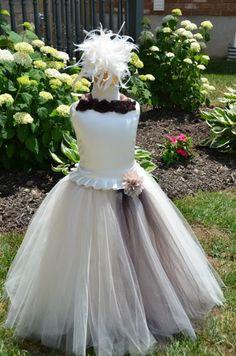 Brown/Ivory Flower Girl Tutu Dress - Optional Detachable Train - Weddings & Special Occasions. $80.00, via Etsy.