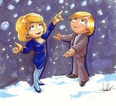 A lovely fanart drawing of Sapphire and Steel frolicking in the snow.