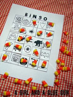 Halloween bingo. Genius way of making kids make their own Bingo board. Love it.