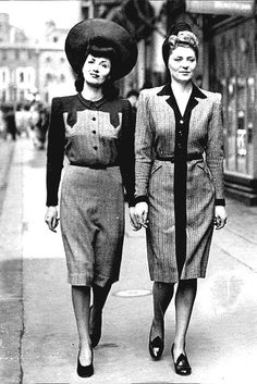 1940s Fashion: The Decade Captured In 40 Beautiful Pictures  Models On Bond Street, London, 1942 The wartime look in Britain became much more austere as the years went by. This was the first collection...