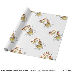 WRAPPING PAPER - WHISKEY SOUR RECIPE COCKTAIL ART