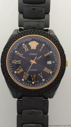 Versace Black Diamond Bezel Ceramic Automatic DV One 01AC91 Mens Watch #Versace