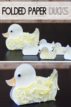 Paddling of Ducks! Folded Paper Duck and Ducklings Craft - Creative Little Explorers Animal Crafts For Kids, Craft Activities For Kids, Toddler Crafts, Preschool Crafts, Art For Kids, Duck Crafts, Bird Crafts, Easter Crafts, Make Way For Ducklings