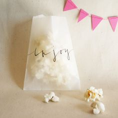 Cute idea for a party. Glassine Favor Bags with Custom Calligraphy by… Party Bags, Party Favors, Popcorn Bags, Popcorn Crafts, Popcorn Favors, Little Presents, Wedding Welcome Bags, Colorful Candy, Wedding Favours