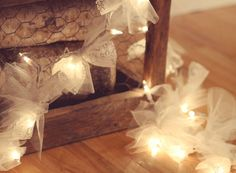 DIY Wedding Table Decoration Ideas - Tulle Fabric on Christmas Lights - Click Pic for 46 Easy DIY Wedding Decorations