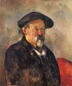 Self-Portrait with Berret- 1898-1900.  The artist's self portait looks very flat and unfinished almost as if you can sse canvas
