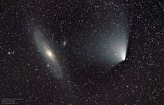 Comet PANSTARRS and M31 (Andromeda) on April 4, 2013, as seen from Sweden. Credit and copyright: Göran Strand.