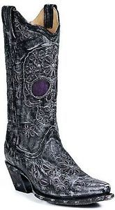 vintage skull cowboy boot | Womens Corral Vintage Distressed Black Leather Boots w Purple Skull ...