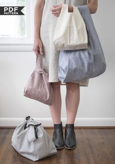 Pattern: Grainline Studio's Stowe Bag (PDF) in two sizes, originally designed for knitters these have intelligently designed internal pockets.
