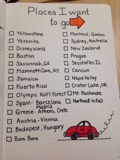 Bullet journal inspiration places I want to go and visit road trips holidays vacations.
