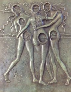 Three Graces Bas Relief Bronze Sculpture 1977 by Salvador Dali, Sculpture, Bronze-Green Florentin Patina In Oak Frame Peter Paul Rubens, Pierre Auguste Renoir, Sculptures Céramiques, Sculpture Art, Kandinsky, Picasso, Salvador Dali Kunst, Magritte, Art Moderne
