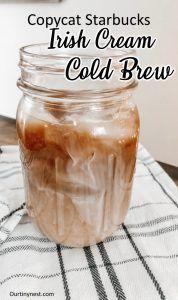 Starbucks Irish Cream Cold Brew - Our Tiny Nest - . Starbucks Holiday Drinks, Starbucks Recipes, Cold Brew Coffee Recipe Starbucks, Irish Cream Coffee, Irish Cream Drinks, Coffee Drink Recipes, Coffee Drinks, Homemade Irish Cream, Best Food Ever