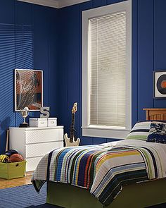 Rock a kid's bedroom with a dramatic blue color scheme and the classic style of Hunter Douglas Modern Precious Metals® blinds. Hunter Douglas, Bedroom Windows, Blinds For Windows, White Bedroom Furniture, Furniture Sets, Kids Window Treatments, Vinyl Blinds, Wood Blinds, Aluminum Blinds