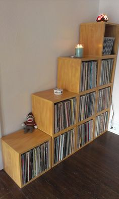 Oak Vinyl Record Album Storage Cube and Stackable Shelf
