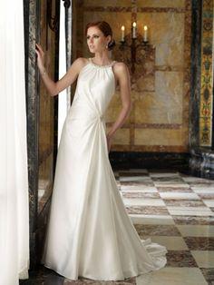 Satin Side Draped Bodice Bateau Neckline A-line Wedding Dress