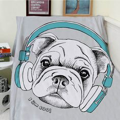 Blankets Cobertor Warmth Soft Plush Lovely Cartoon French Bulldog Dog Music I Am Cool Sofa Bed Throw a Blanket Thick Thin Plaid