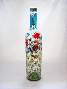Hand Painted Bottle Art on Glass Painted by skyspirit8studios, $55.00