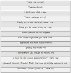 "Many ways to say ""thank you"""