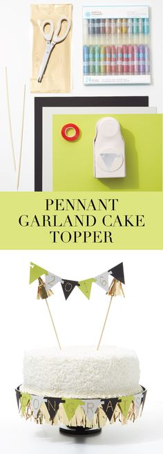 A festive Graduation cake topper made simple with #MarthaStewartCrafts Pennant Garland Punch and Glitter Glue Set!