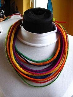 Multicolor felt necklace by Strojownia on Etsy, $55.00