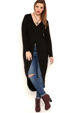 Deb Shops long sleeve extreme high low tunic open front rayon span $11.75