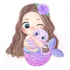 Cute Mermaid Hugging A Little Octopus Watercolor Flower Background, Watercolor Rose, Watercolor Landscape, Watercolor Painting, Baby Animal Drawings, Cute Drawings, Little Octopus, Cute Mermaid, Watercolor Effects