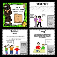 """Perspective Taking: This packet includes 3 fun and interactive perspective taking activities that teach children to consider how their behavior affects others around them. These activities focus on teaching children how to be polite, vs. impolite (""""polite or not quite right"""")."""