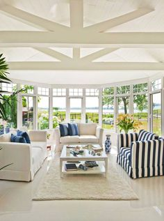 Go for minimal accessorising, and keep the space uncluttered. Make sure visitors will stay focused on the outdoor view; and they will have enough light to help them enjoy the sunroom at nights. #hamptonsstyle #sunroomandconservatories