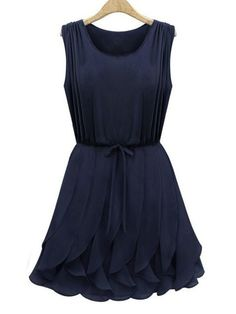 Women's Cute Flounces Solid Color Sleeveless Dress  - Dresses