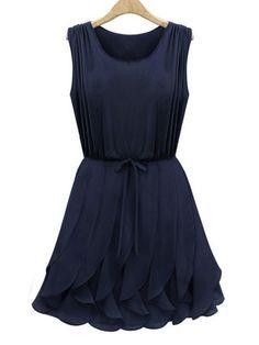 Women's Cute Flounces Solid Color Sleeveless Dress  - Dresses