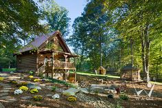 roger wade studio architectural photography of small cabin, fire pit and gazebo, private residence, mocksville, north carolina, by log homes of american and bear creek log homes