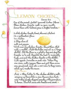 Lemon Chicken recipe from Susan Branch. Old Recipes, Lemon Recipes, Vintage Recipes, Great Recipes, Cooking Recipes, Favorite Recipes, Family Recipes, Old Fashioned Recipes, Lemon Chicken