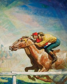 "N. C. Wyeth (American, 1882-1945) THE HORSE RACE Oil on canvas, 40 1/4""x 32 1/4"" Initialed lower right Illustrated: Boyd, James. Drums...with pictures by N. C. Wyeth. Scribner's Illustrated Classic. New York, NY: Scribner, 1928, p. 184  ""Cursing and whipping like a madman, the scarlet jockey drew up on the turn, hung knee to knee, passed him by""The Horse Race 