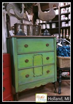 Antique Highboy Dresser Painted in Blues and Green Chalk & Clay Paints