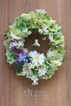 ガーベラと紫陽花のリース