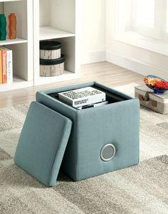 Furniture of America Speak Loud Storage Ottoman with Bluetooth Speaker, Blue