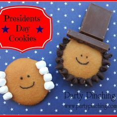 Presidents' Day craft and food ideas George Washington and Abraham Lincoln cookies easy DIY recipe tutorial for kids to make in the classroom