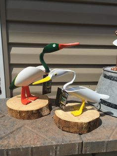 Mallard x & small x Domestic ducks Pvc Pipe Crafts, Pvc Pipe Projects, Wood Crafts, Diy And Crafts, Garden Crafts, Garden Projects, Projects To Try, Tyres Recycle, Carving Designs