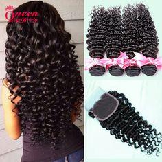 Brazilian Deep Wave With Lace Closure 7a Remy Human Hair 3 Bundles With Closure Brazilian Virgin Hair Deep Curly With Closure http://jadeshair.com/brazilian-deep-wave-with-lace-closure-7a-remy-human-hair-3-bundles-with-closure-brazilian-virgin-hair-deep-curly-with-closure/ #HairWeftClosure(Bang)