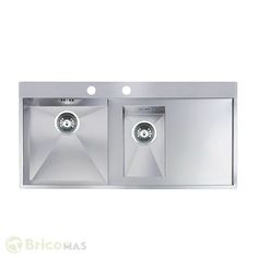 Fregadero de cocina doble seno Ontario L1.5 Galindo  - #fregadero #cocina #hogar #griferiaGalindo #Bricomas - VER PRODUCTO: http://bricomas.com/producto/fregadero-de-cocina-doble-seno-ontario-l1-5-galindo/
