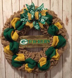 A personal favorite from my Etsy shop https://www.etsy.com/listing/505592445/green-bay-packers-wreath-green-bay